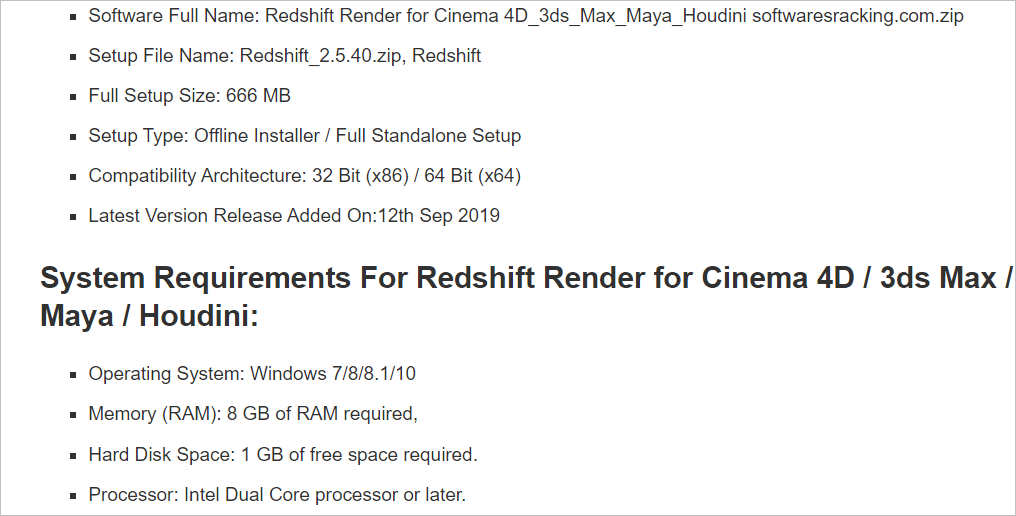 System requirements Redshift Render crack